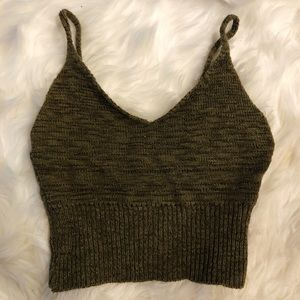 Olive Knitted Crop Top